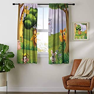 youpinnong Zoo, Thermal Insulating Blackout Curtain, Animals in The Forest Cartoon Illustration African Safari Jungle Ecosystem Greenery, for Bedroom, W63 x L72 Inch Multicolor