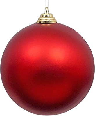EST. LEE DISPLAY L D 1902 Christmas Ball Ornaments Large Hanging Outdoor Matte Plastic Tree Decorations Holidays Party Ceiling (Red, 12IN)