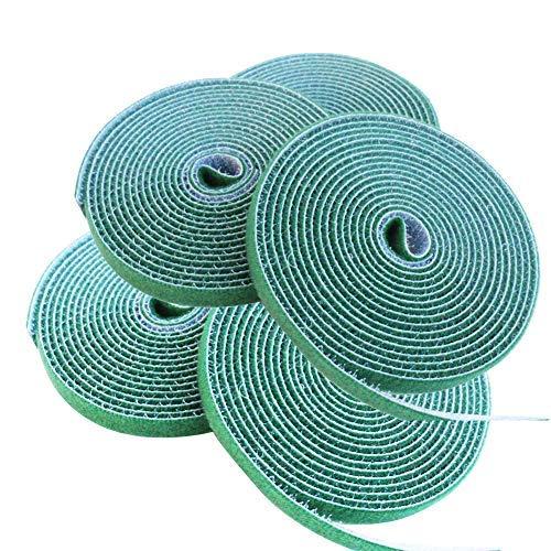 10mm Garten Pflanzenbinder mit Klettverschluss, Klett-Kabelbinder, Gartenstütze 2.5m Lange (5 Rollen Grün)