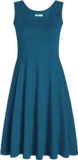 Women's Square Neck Sleeveless A Line Tank Dress