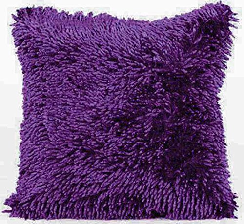Intimates Modern Shaggy Chenille Soft Loops Cushion Cover (Purple)