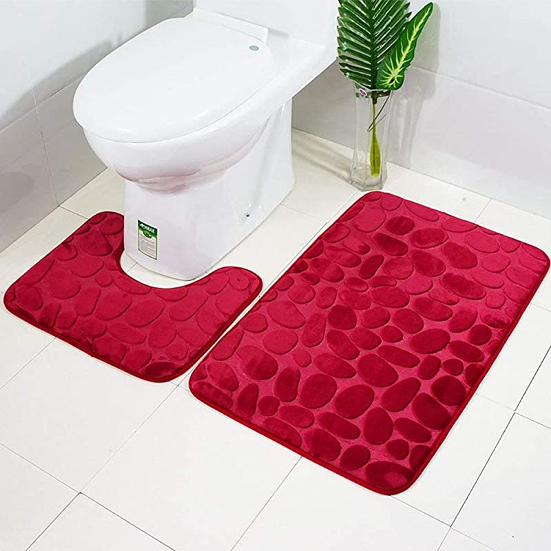 Non Slip Stand Bath Mats Set 2 Piece Breathable Memory Foam Bath Rugs Comfortable Soft Water Absorbent Toilet Bathroom Rug Non Slip Stand Support Red