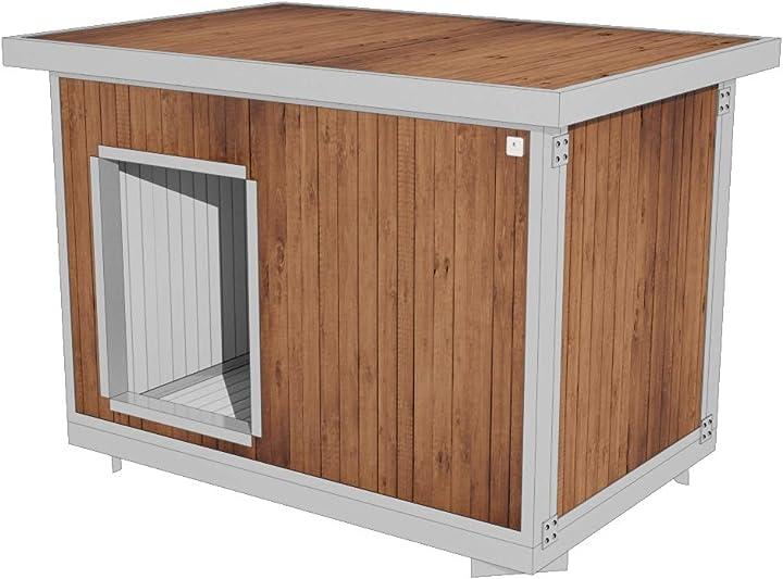 Cuccia cani coibentata 90x60h72 roma wood per cani da esterno giardino tetto apribile cucce italiane 102
