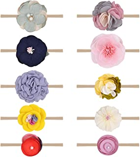 10pcs Baby Girls Flower Headbands and Bows Nylon Elastic Hair Bands Hair Accessories for Infants Toddlers Newborn