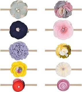 10 قطع من عصابات الرأس والفيونكات المصنوعة من النايلون المرن أكسسوارات الشعر للرضع والأطفال حديثي الولادة