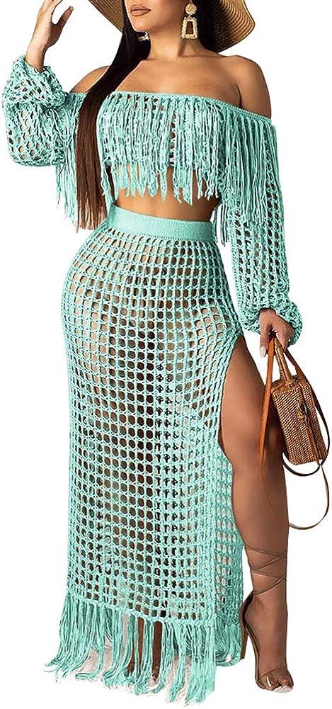 Ophestin Women Off Shoulder Long Sleeve See Through Lace Crop Top Tassel Split Two-Piece Maxi Long Skirts Dress Set