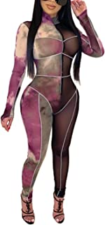 Women Long Sleeve Bandage Bodycon Sequin Jumpsuit Tattoo Print Bodysuit