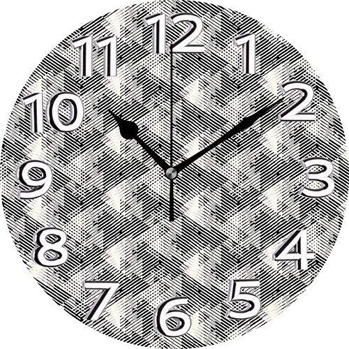 BeeTheOnly Reloj de Pared geométrico con triángulos superpuestos, años Ochenta, Techno dinámico, Color Crema, Dormitorio, Sala de Estar, Cocina, Reloj para el hogar, 9.5 Pulgadas ⭐