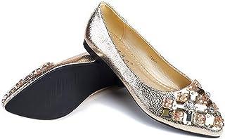 [サニーサニー] パンプス レディース ぺたんこ靴 ドライビングシューズ ローヒール 痛くない 可愛い カジュアル 軽い ビジュー付き 大きいサイズ 歩きやすい 通勤 防滑 疲れにくい 通学 柔らかい 快適 屈曲性 フラットシューズ