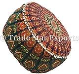 Funda para puf con diseño de mandala indio, reposapiés otomano de algodón,...