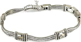 St Michel Greige Swarovski Crystal Silver Bracelet