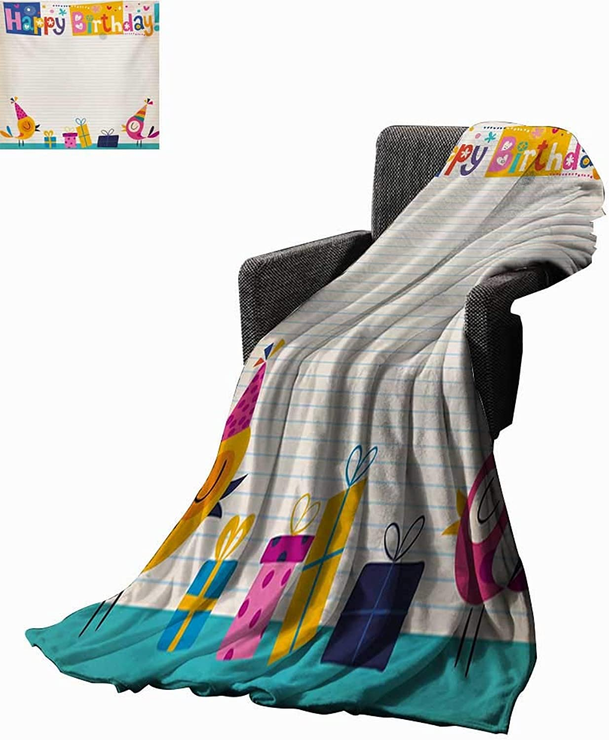 Anyangeight Kids Birthday Throw Blanket Cartoon colorful Image Party Birds with Cones Surprise Boxes Fun Happiness,Super Soft and Comfortable,Suitable for Sofas,Chairs,beds