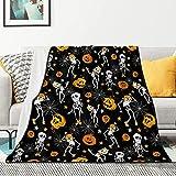 Halloween Blanket Flannel Fleece Black Throw Blanket Soft Funny Skeletons Pumpkins Bed Blankets Fuzzy Blanket for Bedroom Living Rooms Sofa Couch Home Decor 50'x60'