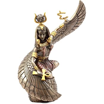 """Ebros Gift Egyptian Goddess Mother Isis Ra Holding Ankh Figurine 9"""" H Decorative Statue Collectible"""