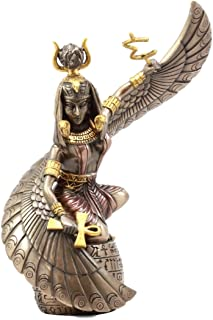 "Ebros Gift Egyptian Goddess Mother Isis Ra Holding Ankh Figurine 9"" H Decorative Statue Collectible"