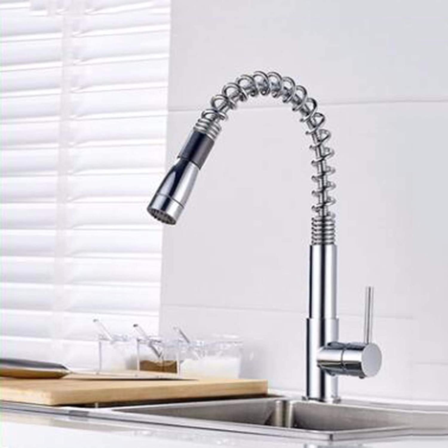 Kitchen faucet All Copper Chrome Plated Spring Pulls redary Kitchen Sinks Faucets Hot And Cold Mixed Vegetable Pots.