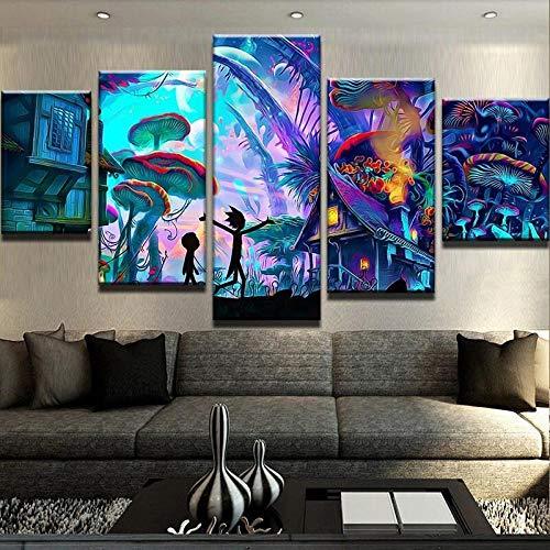 GIRDSS Wandbild Bilder Auf Leinwand 5 Teilig Mushroom World Rick and Morty Format Wandbilder Wohnzimmer Wohnung Deko Kunstdrucke