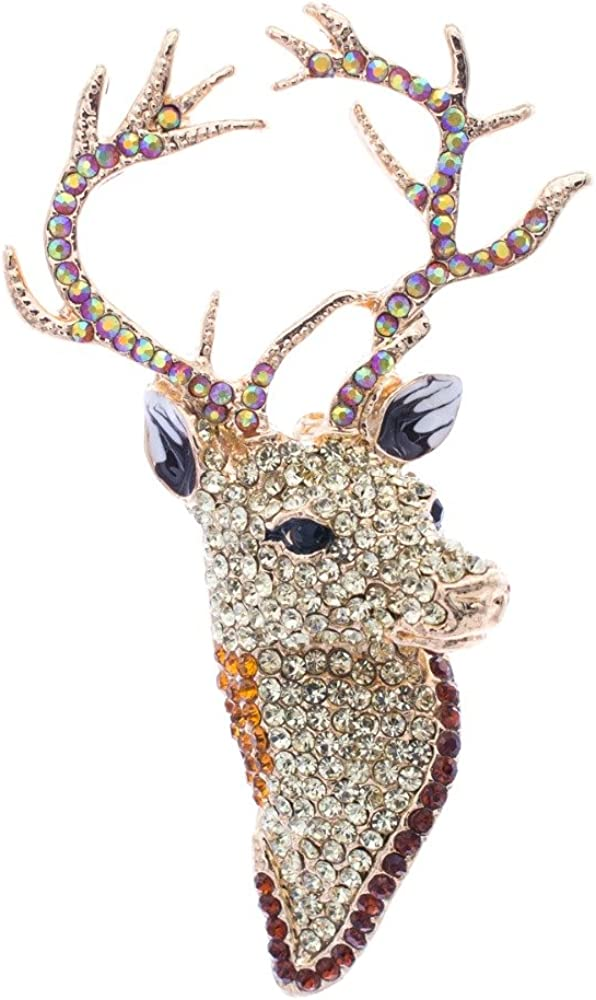 SEPBRIDALS Max 55% OFF Yellow Rhinestone Max 64% OFF Crystal Deer Head Brooch Pins Chris