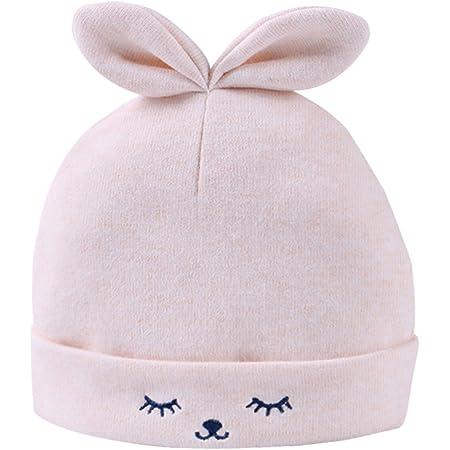 FEOYA Gorro Gorra para Bebés Sombrero de Punto Recien Nacido Hat Primavera con Orejas Lindo Algodón Estampado Amarillo 0-3 Meses