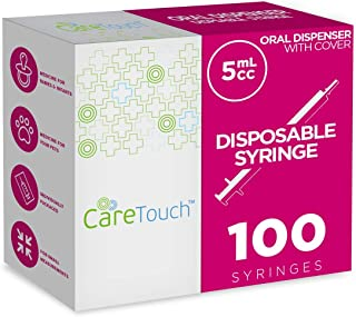 5ml Oral Syringe – 100 Syringes with Covers by Care Touch - Great for Oral Medicine and Home Care
