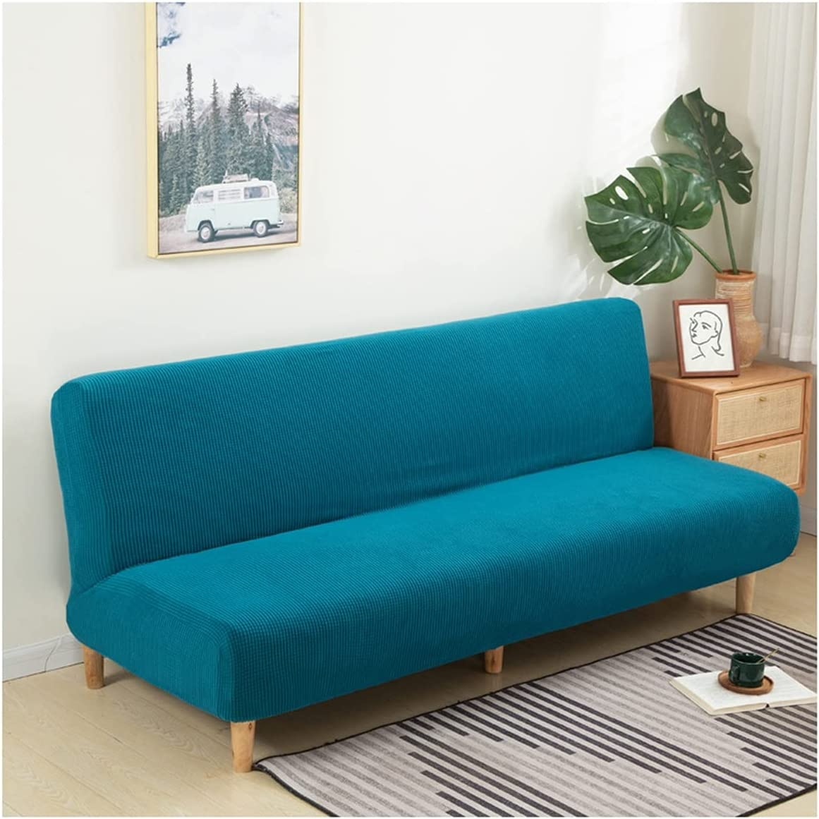 LYLSXY Stretch Futon Cover Universal Non Bargain sale Sofa Armless Slipcover Opening large release sale