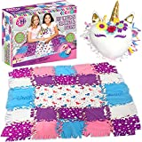 DIY 2-in-1 Unicorn Knot No Sew Blanket Pillow, Craft for Girls, Make Your Own, Plush Fleece Blankets and Pillows Quilt Set for Kids, Birthday Activity for Girls Tween Tees Craft Gift for Kids Ages 6+