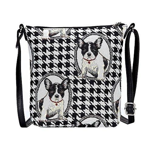 Signare Tapisserie Kleine Tasche Damen, Handtasche Damen Klein, Reisepass Tasche, Mini Handtasche (Französische Bulldogge)