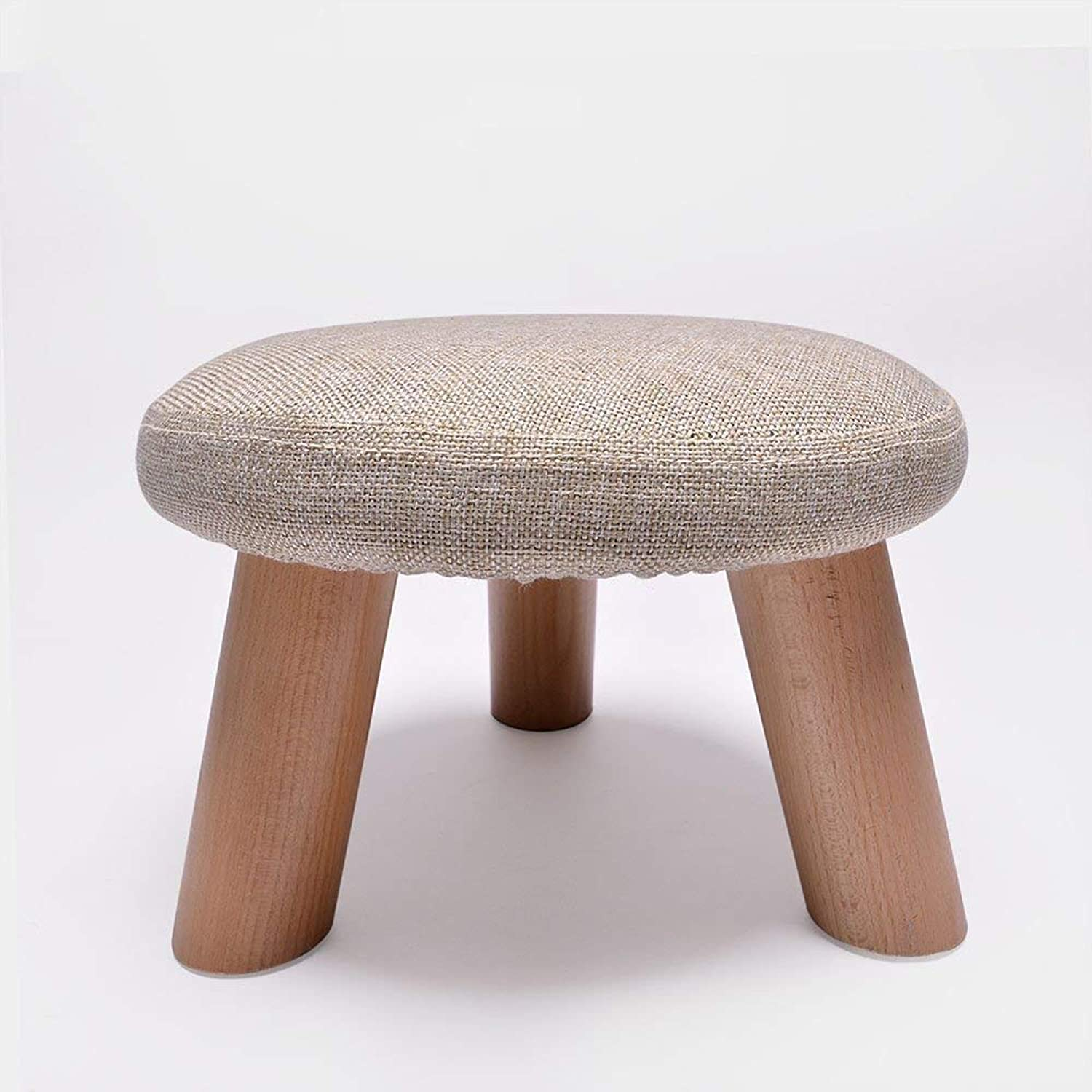 WSJTT Round Wood Support Upholstered Footstool Chair Stool Fabric Cover 3 Legs and Removable Linen Cover
