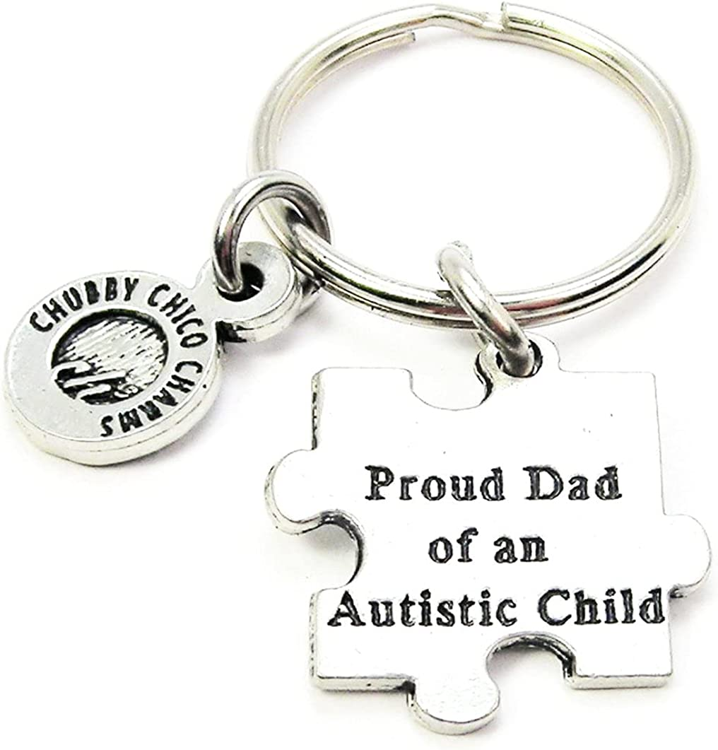 Proud Dad of an Autistic Child Pewter Charm On Stainless Steel Keyring Key Ring Key Chain Keychain for Fathers, Men, Awareness
