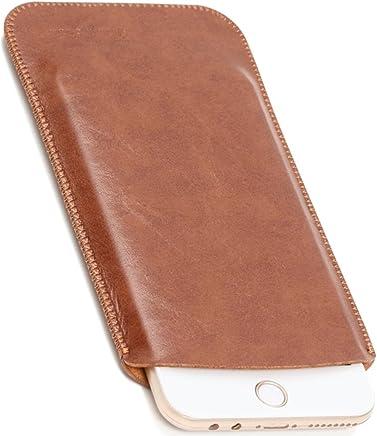 V.M 6.1 / 6.5 / 5.5 / 5.8 / 4.7 インチ スマホケース レザー iPhone XR スリーブ ケース 軽 薄 皮 革 スマホ スリップイン カバー アイフォン テンアール スリップインケース アイホン スリップケース スリップ インケース イン ポーチ 袋 携帯ケース ダーク ブラウン iPhoneXR 濃茶