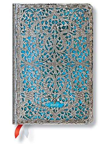 Paperblanks Silberfiligran Kollektion Maya - Kalender 2017 Mini Wochenüberblick Horizontal deutschsprachige Ausgabe