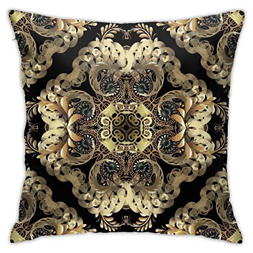 Moshow Kissenbezüge Kissenbezüge Dekoration Rinde Luxus Gold Barock 3D Vektor Nahtlos auf dem Schlafsofa Bett 45X45 cm