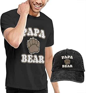 Novelty Men's Papa Bear Footprint Brief T-Shirt and Cowboy Hat