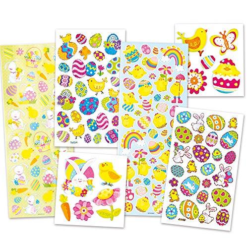 Baker Ross Vorteilspackung Aufkleber zu Ostern - Osterhase Osterei Küken - Sticker Set für Kinder (1Stück)