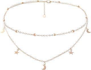 BaubleStar Star Moon Charm Necklace Layering Chain Choker Women Girls