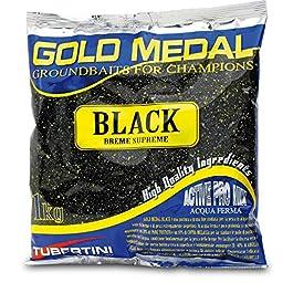 Tubertini Amorce Noire Gold Medal 1 kg Moyen-Fin Couleur Noir Amorce de Pêche Mer Rivière Carpe Amorçage