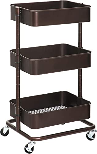 SONGMICS 3-Tier Metal Rolling Cart, Utility Cart, Kitchen Cart with Adjustable Shelves, Storage Trolley with 2 Brakes...