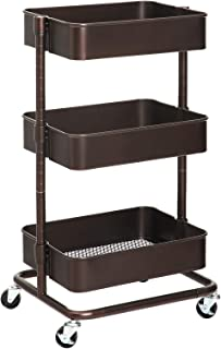 SONGMICS 3-Tier Metal Rolling Cart, Utility Cart, Kitchen Cart with Adjustable Shelves, Storage Trolley with 2 Brakes, Easy Assembly, for Kitchen, Bathroom, Bronze UBSC60A