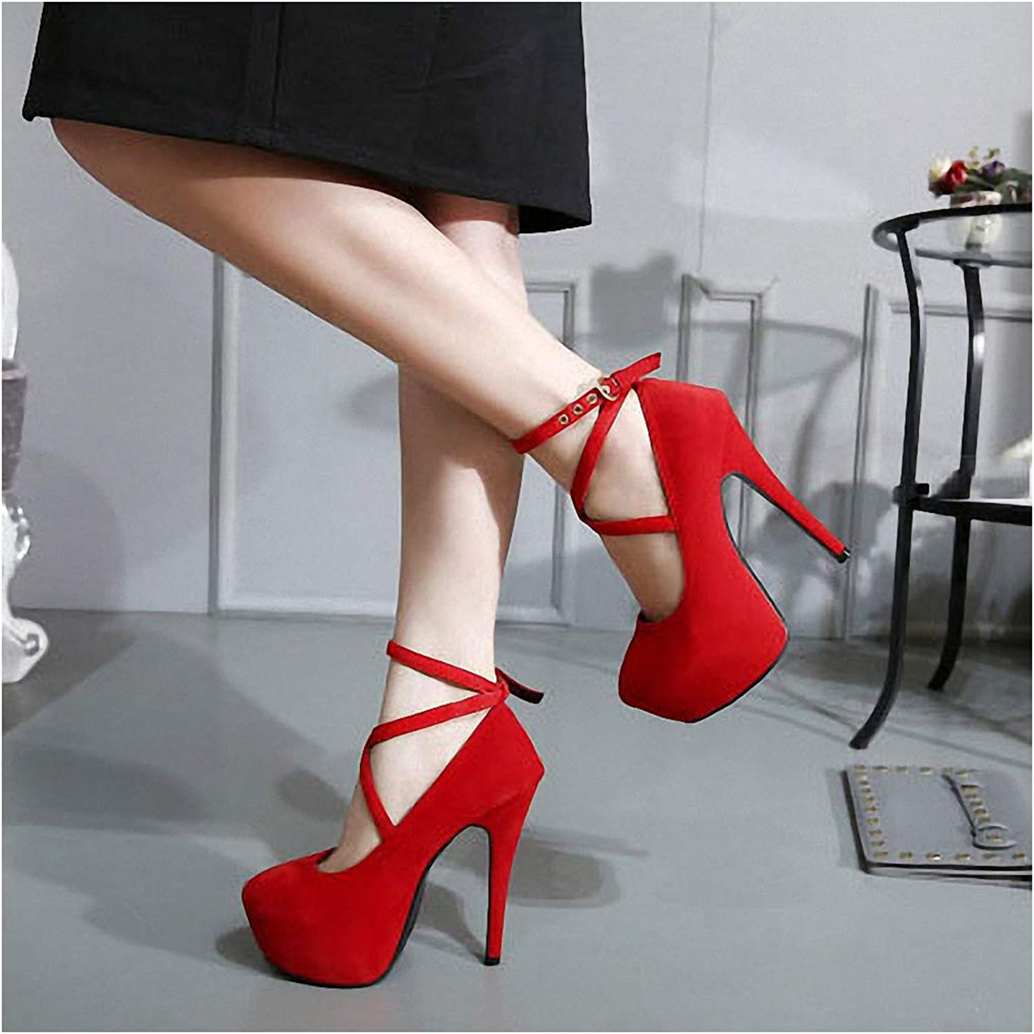 Tebapi Womens High-Heeled Pumps shoes Sexy Stiletto Women's shoes 16cm High Heels Fashion Super High Heel shoes Waterproof Platform Single shoes