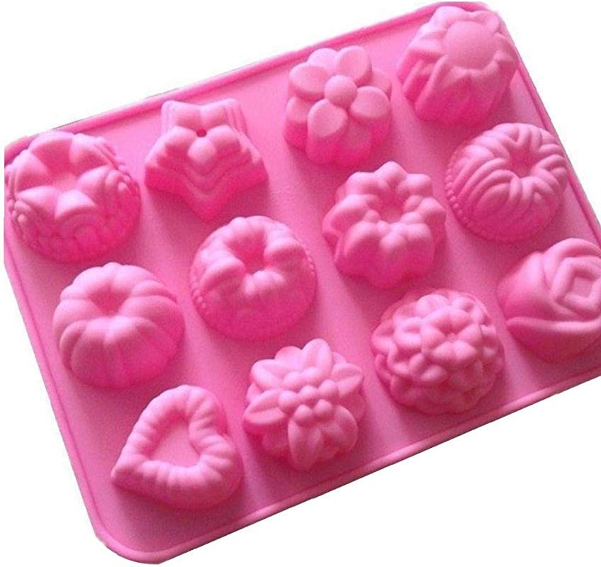 12 Cavities Flowers Shape Silicone Hand Made Soap Molds Ice Lattice Cake Candy Making Moulds Cake Pans Handmade DIY Chocolate Mold Baking Tool