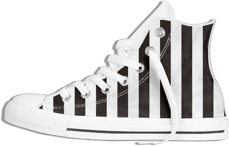Unisex High duk Sneeaker skor svarta vita stripes stripes stripes Lace Up Non -Slip mode  motverka äkta