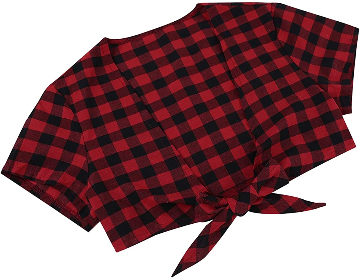 Yeeye Women Deep V Bolero Cardigan Crop Top Open Front Tie up Short Shrug Schoolgirl Cosplay Shirts Red&Black X-Large