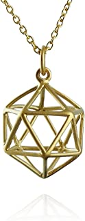 24k Gold Plated Sterling Silver 3D Icosahedron Geometric Wire Cage Necklace, 18