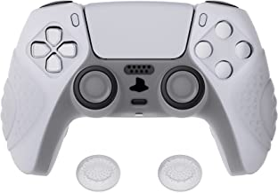 eXtremeRate Capa de silicone para controle PlayVital Guardian Edition Clear White ergonômica macia antiderrapante para Pla...