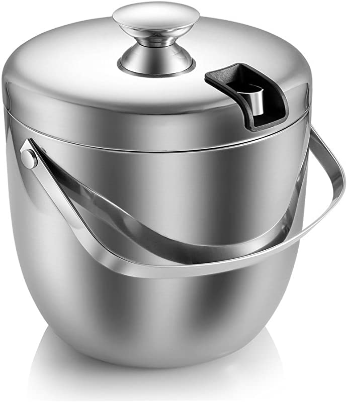 Ice Bucket Insulated Stainless Steel Double Walled Ice Bucket With Lid Stainless Steel Ice Tongs 2 8L Silver
