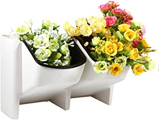 Yosoo Mini Stackable Garden Vertical Planter All Season Stacking Hanging Flower Pot for Veg Herb Fruit Indoor Outdoor, White
