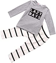 Baby Boy 2 Pieces Fall Winter Cotton Outfits Sets Toddler Lazy Days Print Long Sleeve T-Shirt+Striped Long Pants