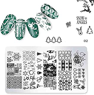 Christmas Designs Laser Nail Art Stamping Template Plates Stamper Polish Print Image 126cm Manicure Books Accessory Tools (02)