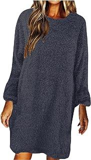ReooLy Women's Solid Color Oversize Sweater Autumn Winter Leisure Long Teddy Fleece Sweater Blouse Winter Sweater Soft War...