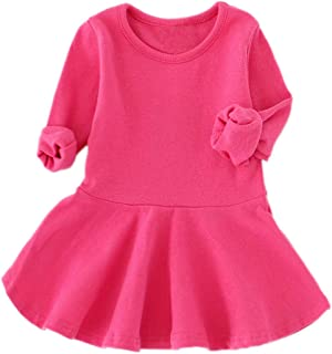 GSVIBK Baby Girls Cotton Dress Toddler Solid Dresses Girl Casual Dress Long Sleeve Infant Playwear Dress